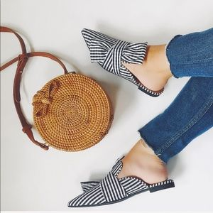 Shoes - Chelsea Gingham Black & White Pointy Mules